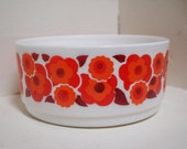 """Fetching Arcopal France bowl, milk glass, white with vibrant red flowers, """"Lotus"""" pattern"""