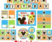 Mickey Mouse Luau Party Package, Mickey Mouse Luau, Mickey Luau Party,  Mickey Birthday, Mickey Party, Luau Party, PDF, INSTANT DOWNLOAD