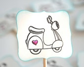 Vespa Love - Cupcake Toppers/Party Sticks
