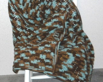 Earth and Sky Crochet Afghan - Multi Color, Browns and Blue