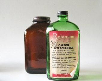 Vintage Green Glass Bottle Chemical Laboratory Jar Mid Century