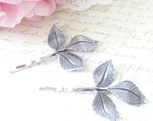 Sterling Silver Plated Leaf Branch Bobby Pin Set - Leaf Hair Pins - Woodland Collection - Whimsical - Nature - Bridal