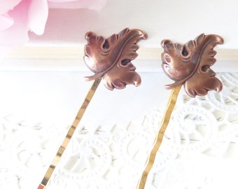 Copper Leaf Hair Pin Set - Woodland Collection - Whimsical - Nature - Bridal - Leaf Bobby Pin Set