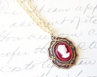 Lady in Red - Ruby Red Cameo Necklace - Red Cameo - Victorian Style - Gold Necklace