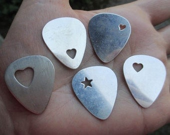 Sterling Silver Guitar pick - with heart cut out, or star(one pick)You choose which cut out