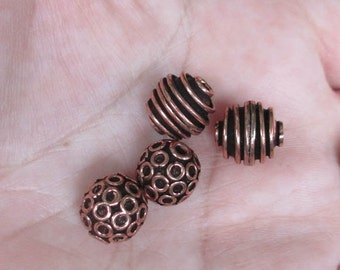 Copper Round beads with Rings or Spiral Beads(6 beads)