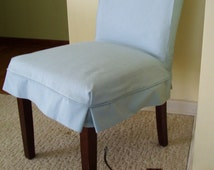 Parson Chair Slipcover Blue Canvas Dining Chair Slip Cover