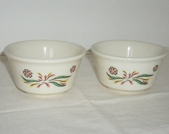 2 Small Vintage Ovenproof , Custard Dishes