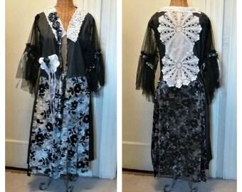 Boho Denim Jacket Pocket Coat Size Large XL Black lace Crochet Vintage Linen Long Duster Beaded Velvet Burnout Art Wear