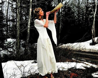 Winter Wedding Dress Maxi Long Sleeve Bridal Antler Fairy Woodland Gown White or Cream Boho Corset Custom Cottage Roses by Savoyfaire