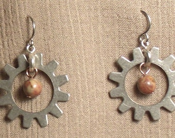Steampunk gear earrings, mixed metals, harvest stone bead. 061410