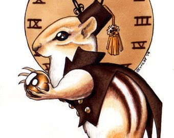 "Cheesepunk ""Hermione"" Limited Edition Print - MATTED brown - Steampunk/Gaslamp Chipmunk"