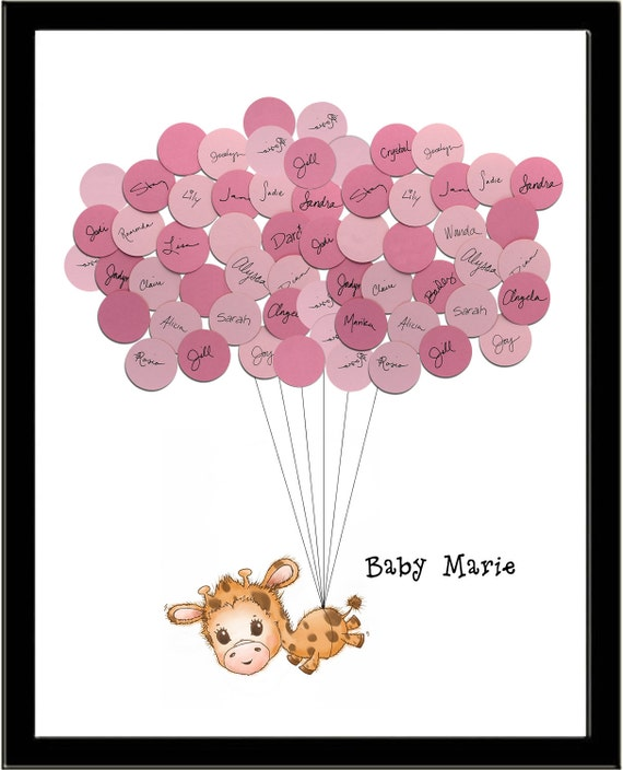 Giraffe theme baby shower guest book print for girl for Balloon decoration book