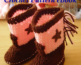 Western Cowboy Baby Booties Boots Crochet Pattern PDF eBook Digital Download for Boy or Girl