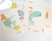Ocean ALPHABET print set - nursery wall art for children