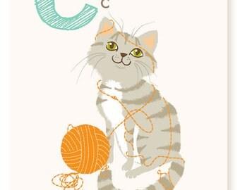 ABC card, C is for Cat, ABC wall art, alphabet flash cards, nursery wall decor for kids