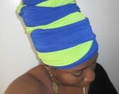 Royal Blue & Green Tube Wrap - Ready Wrap- Women Headwear-Headdress- SKU:  WWJ191