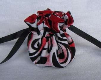 Jewelry Bag - Mini Size - Drawstring Jewelry Pouch - Fabric Travel Tote - FIRE it UP