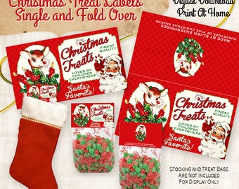 Christmas Treats Label Tag Digital Download Printable  DIY Vintage Style Image Clip Art Collage Sheet