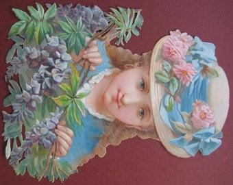Romantic Home Decor Purple Wisteria 1920's Vintage Portrait Straw Garden Hat Framed English Garden