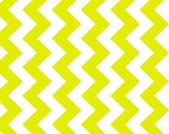 Neon Green  Chevron Cotton Fabric by the Yard or Half Yard Fabric,  Neon Green  Chevron Cotton Fabric, Floral Fabric,  Quilting Fabric