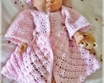 New Design - Baby Crochet Pattern Jacket & Sun Hat Yelena