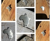 I heart Africa, Solid small Africa continent pendant, 20mm, Heart at a place of your choice