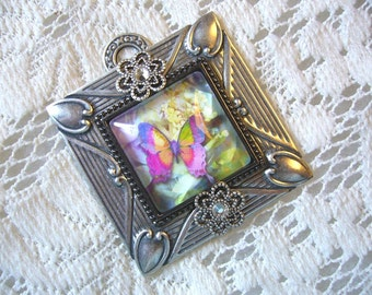 Colorful Butterfly Victorian Pendant Free Shipping in USA