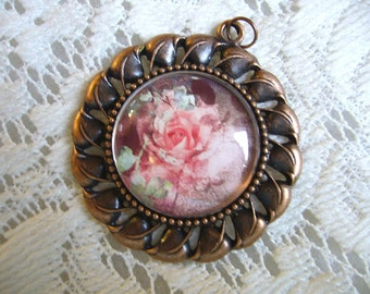 Antique Light Coral Rose Pendant Free Shipping in USA