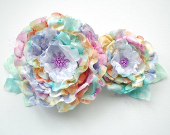 pastel bridal romantic roses, lavender blue green weddings hair accessory, bridal hair flowers, bridesmaids headpieces, flower girls, pale