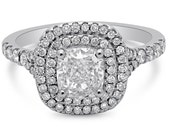 1.65ctw GIA certified CUSHION cut double halo style soleste style diamond engagement ring 14k white gold