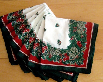 Vintage Christmas Linen Napkins Holly Pine Cones Red Green Set of Seven