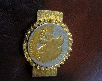 Vintage Money Clip Eagle Reverse Walking Liberty Half Dollar Gold Tone Inlaid