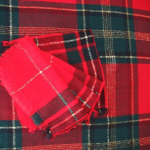 Vintage Christmas Tablecloth Napkins Woven Plaid By