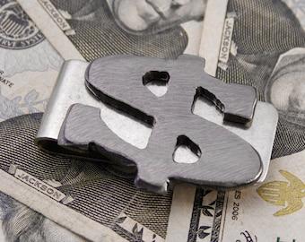 Dollar Sign Money Clip - Gift for Best Man, Groomsmen Gift, Wedding or Birthday Handmade by WATTO Distinctive Metal Wear