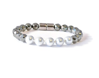 Black/Silver Magnetic Hematite Bracelet, Holistic Jewelry, Arthritis Pain Relief