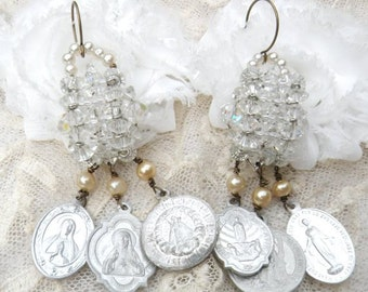 religious medal earrings assemblage upcycle jewelry crystal catholic dangles romance repurpose
