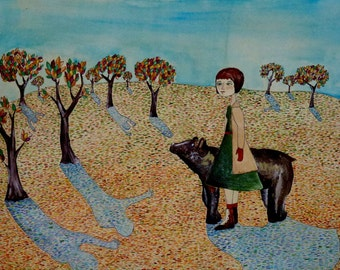 Bernadette and her Bear Friend Solve the Mystery of the Missing Villagers Original Art Illustration Bear Forest Tree Nature Whimsical