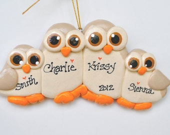 Personalized Owl Family of 4 Christmas Ornament / family ornament / family of four