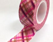 Washi Tape - 20mm - Magenta Hot Pink Brown Plaid - Deco Paper Tape No. 828