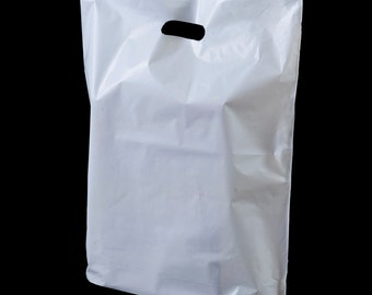 White Patch Handle B1 Merchandise Bags 10 x 12 x 4   100 pack