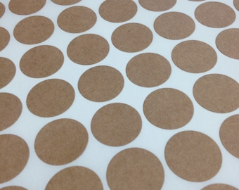 Small Round Brown Kraft Labels - 3/4 Inch Round Shape Sheet Labels for Laserjet or Inkjet Printing - set of 360