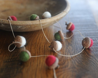 Felted Wool Acorn Garland, Red, Green and White Holiday, 4 Feet Long on Hemp Twine