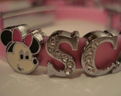 Personalised/personalized pink silicon name bracelet with crystal letters and minnie mouse charm