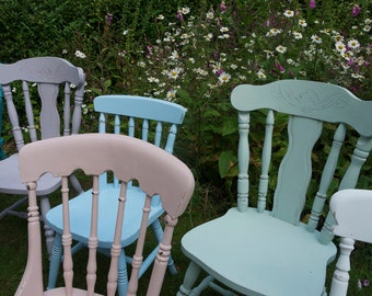 Shabby chic mismatch vintage dining chairs custom set made to order by Emily Rose Vintage