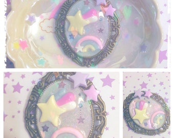 cameo brooch rainbow shooting star and pastel fairy kei stars