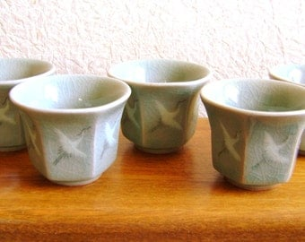 Vintage Sake Set - Sake Set - Vintage Korean - 5 Cups Cranes Light Green Celadon Korean Ceramic