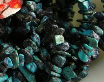 Genuine Dyed and Stabilized Dark Turquoise Chip Beads 15 inches (38cm)