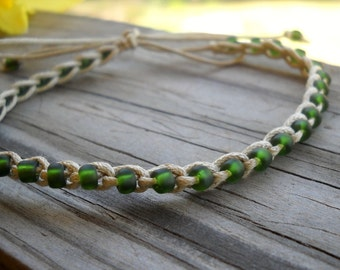 Anklet Crochet Cotton Camo Green Ties On Adjustable Length Durable