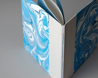 Marbled Guest Book in Shades of Blue